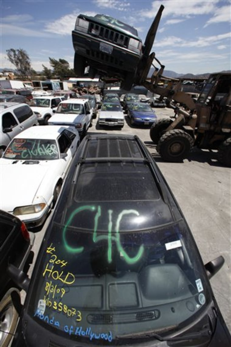 Through early Tuesday, the clunkers program had recorded 157,000 transactions worth $664 million; 83percent of the vehicles traded in were trucks or SUVs.