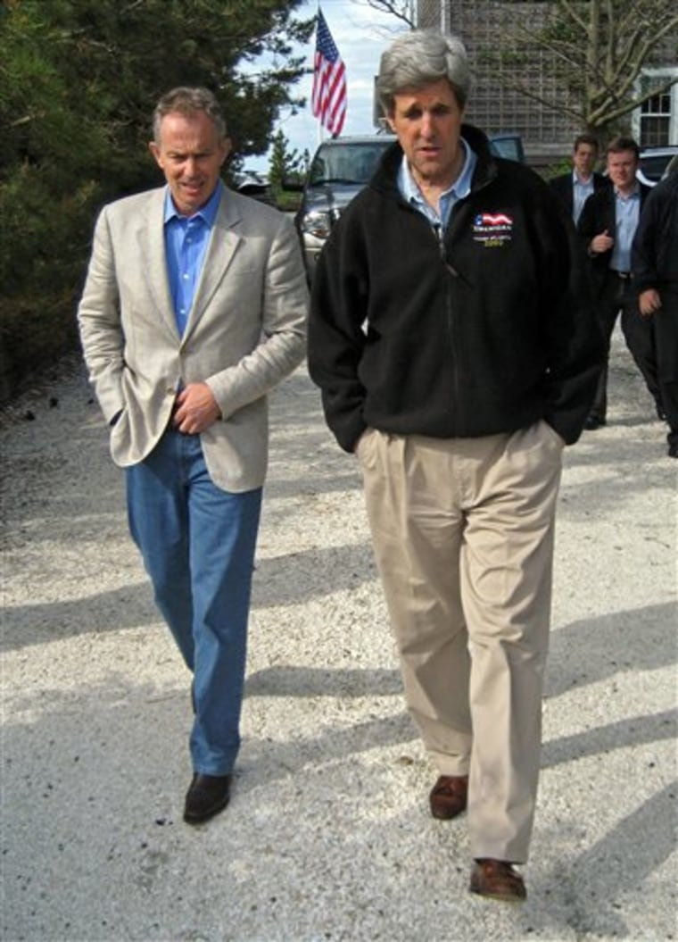 Sen. John Kerry, D-Mass., right, and former British Prime Minister Tony Blair discussed global warming and crude oil prices Saturday, in Nantucket, Massachusetts.