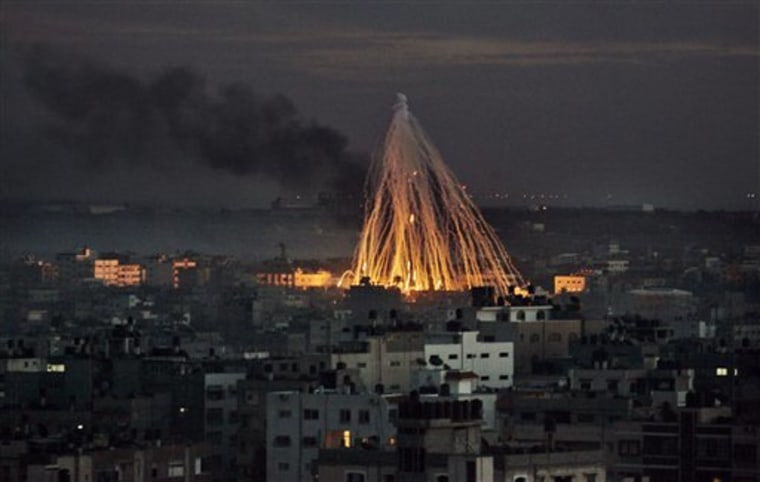Israeli bombs rain down on the outskirts of Gaza City in January 2009.