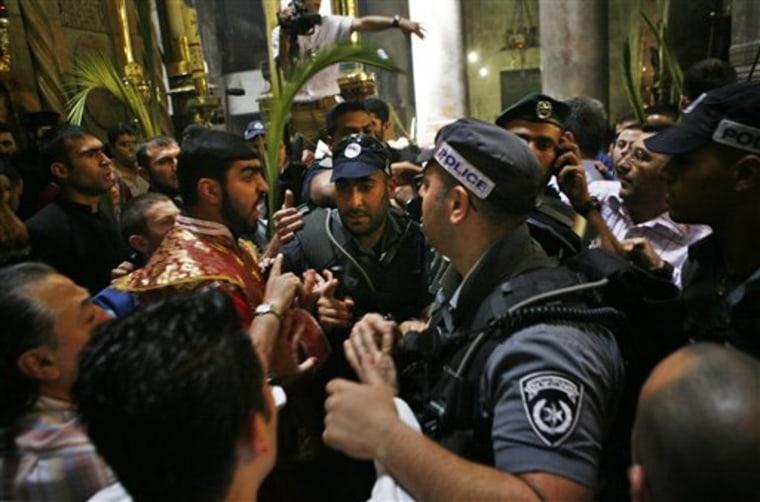 APTOPIX MIDEAST ISRAEL PALESTINIANS CLERGY FIGHT