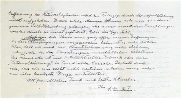 Britain Einstein Letter