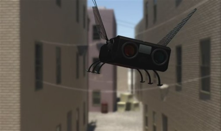 This photo, taken from computer animation video and released by the U.S. Air Force, shows the next generation of drones, called Micro Aerial Vehicles, or MAVs. The MAVs could be as tiny as bumblebees and capable of flying undetected into buildings, where they could photograph, record, and even attack insurgents and terrorists.