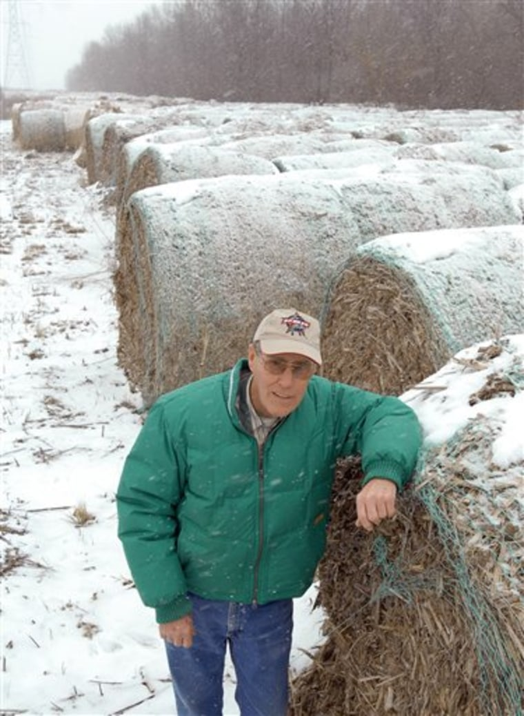 Farmer Tonie Snyder of Reynolds, Ind., provided these bales of corn stover for use in an energy technology that might never come to fruition.