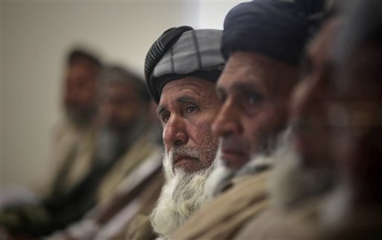 Shinwari tribal leaders listen to a speaker during a meeting at the Afghan border police compound in Jalalabad, Nangarhar province, east of Kabul, on Wednesday.