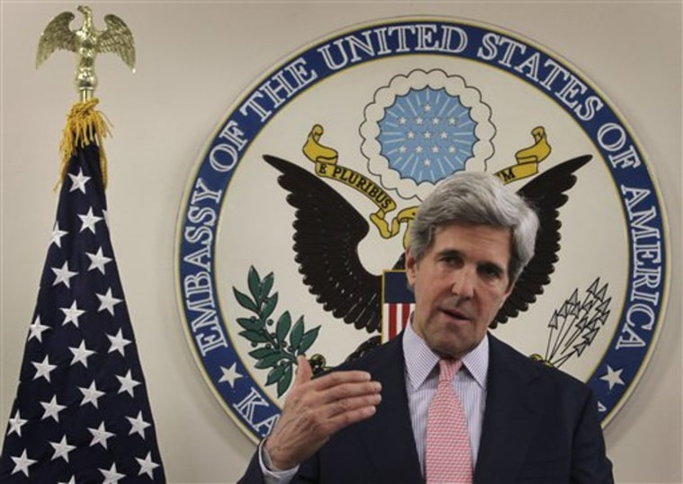 During a news conference at the U.S. Embassy in Kabul, Afghanistan, Sunday, May 15, Senator John Kerry said that Osama bin Laden's death may present a new opportunity for reconciliation with the Taliban in Afghanistan.