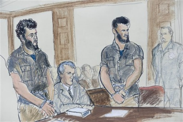 This courtroom sketch shows, from left, Mohamed Mahmood Alessa, public defender Chester Keller, and Carlos Eduardo Almonte on Monday in federal court in Newark, N.J., on Monday.