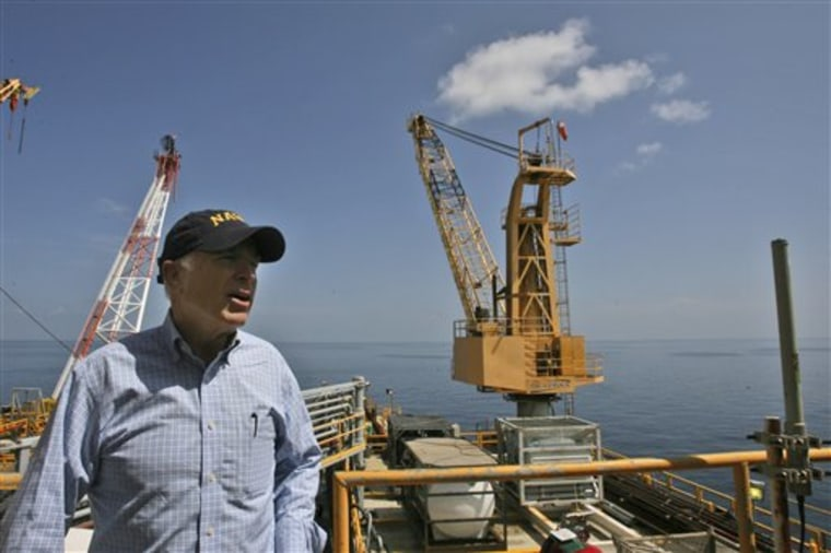 "Presidential hopeful Sen. John McCain, R-Ariz., aboard the Chevron Genesis oil driling platform, said, ""It's time for us to be more serious about our home heating oil needs. ... And that means we need to start drilling offshore, at advanced oil rigs like this one."""