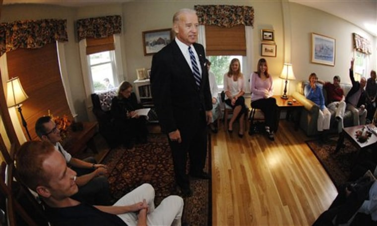 Vice President Joe Biden speaks at the home of Lorrie and Robert Cochran in Manchester, N.H., on Monday.