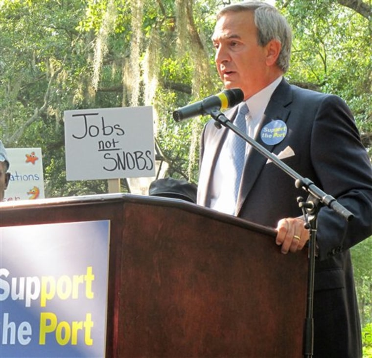 Jim Newsome, the president and CEO of the South Carolina State Ports Authority, addresses a rally in support of the state's growing cruise industry May 9 in Charleston, S.C. The South Carolina State Ports Authority has started design work for its new $25 million terminal for the state's the growing cruise industry.