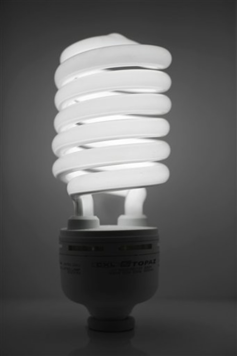 In this file photo, a compact fluorescent light bulb is seen in Philadelphia.