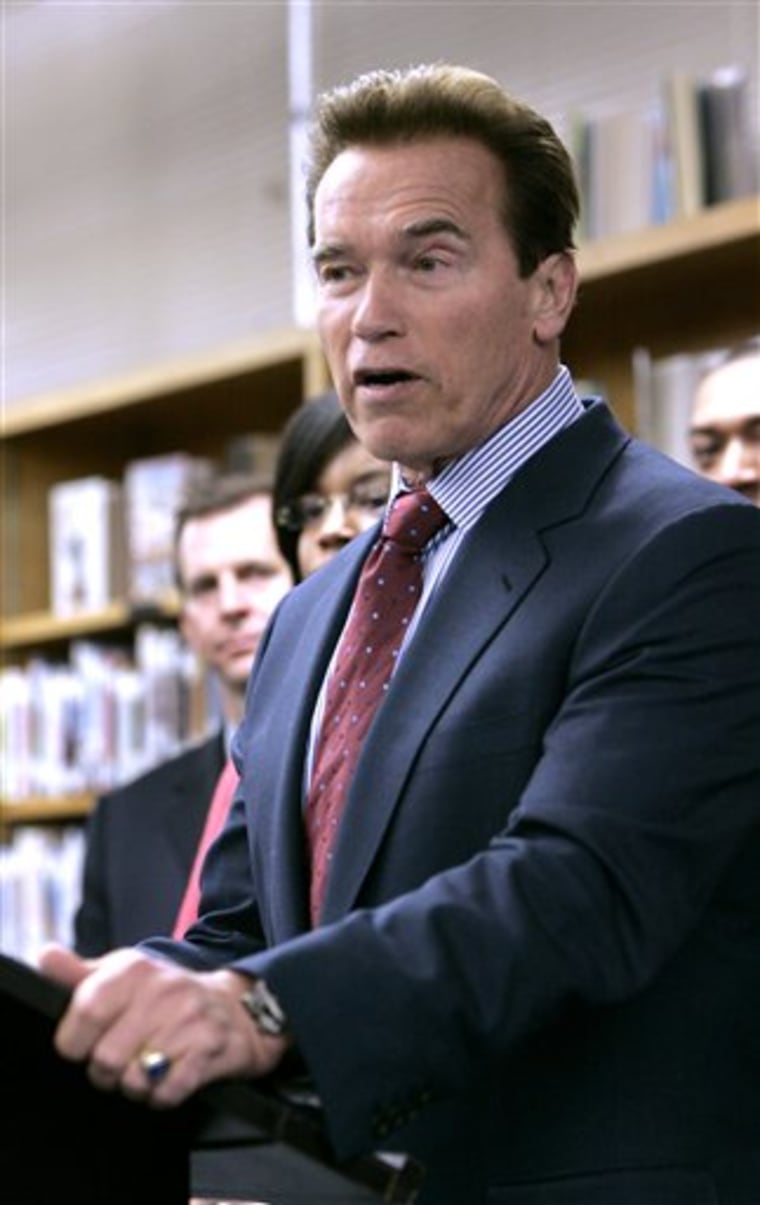 Gov. Arnold Schwarzeneggercalls on lawmakers to support a state bid forfederal Race to the Top education funding duirng a visit to the Rosa Parks Middle School in Sacramento, Calif.