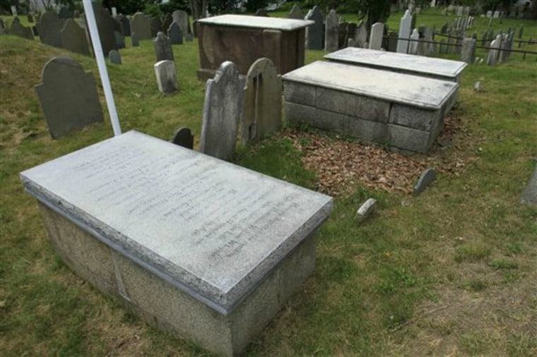The tomb of William Whipple is seen in the Old North Burial Ground in Portsmouth, N.H., June 30. Whipple was one of the lesser-known signers of the Declaration of Independence, but he and others will be honored with a bronze plaque at his gravesite if a group of descendants of the Founding Fathers gets its way.