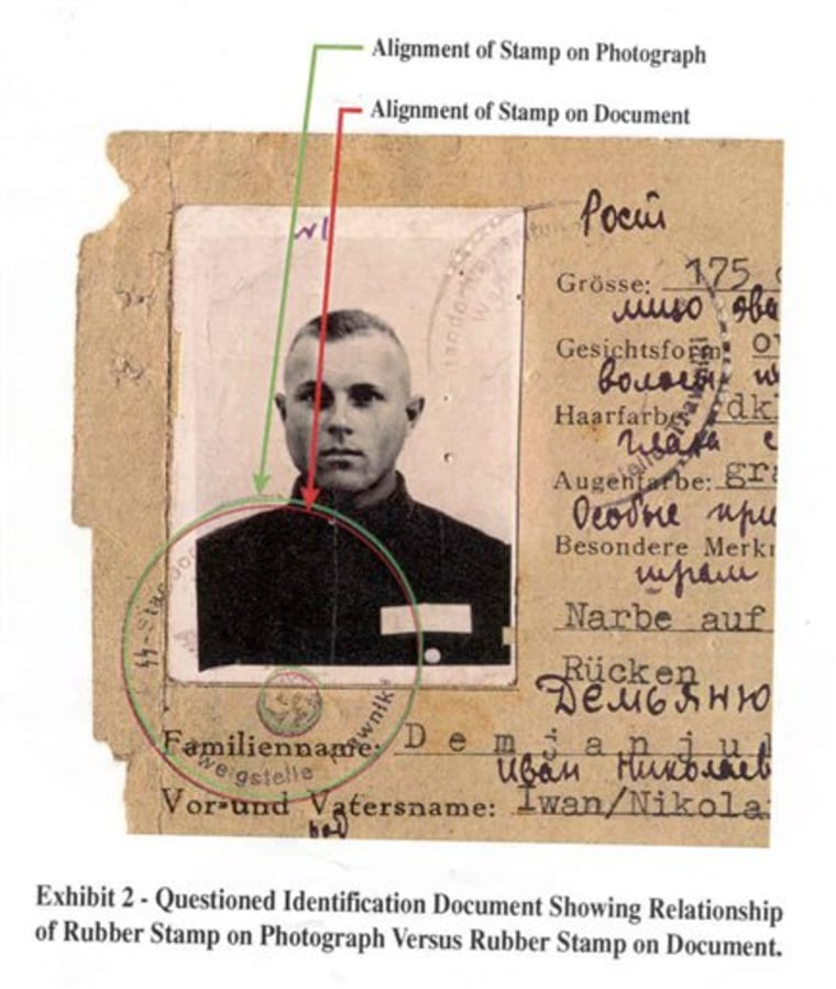 An image released by the Department of Justice shows a World War II-era SS identity card alleged to have belonged to John Demjanjuk.