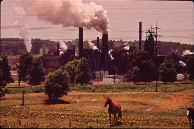In this June 1973 photo provided by the U.S. National Archives, a chemical plant adjoins a pasture in Marshall, Texas. The photo is part of Documerica, an EPA project during the 1970s in which the agency hired dozens of freelance photographers to capture thousands of images related to the environment and everyday life in America. Modeled after Documerica, the agency has embarked on a massive effort to collect photographs from across the United States and around the world over the next year.