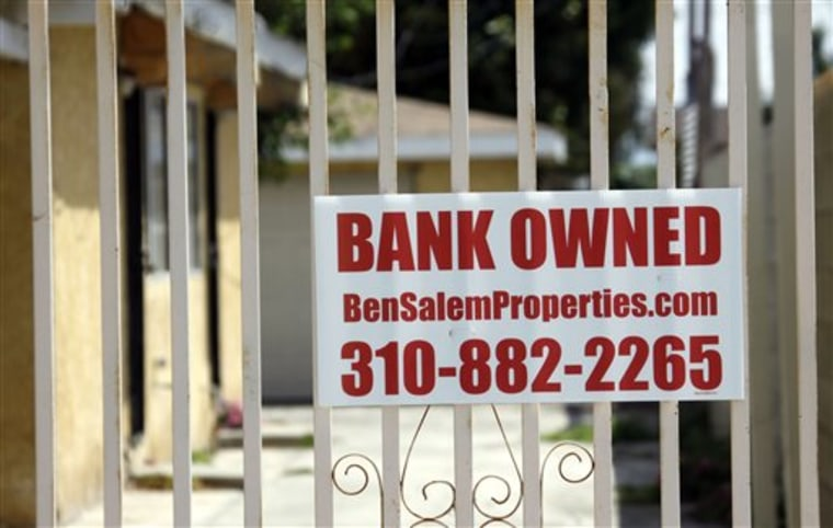 "A ""bank owned"" sign is seen on a home that is listed as a foreclosure on a HUD website, in Hawthorne, Calif., in this file photo taken July 21, 2010."