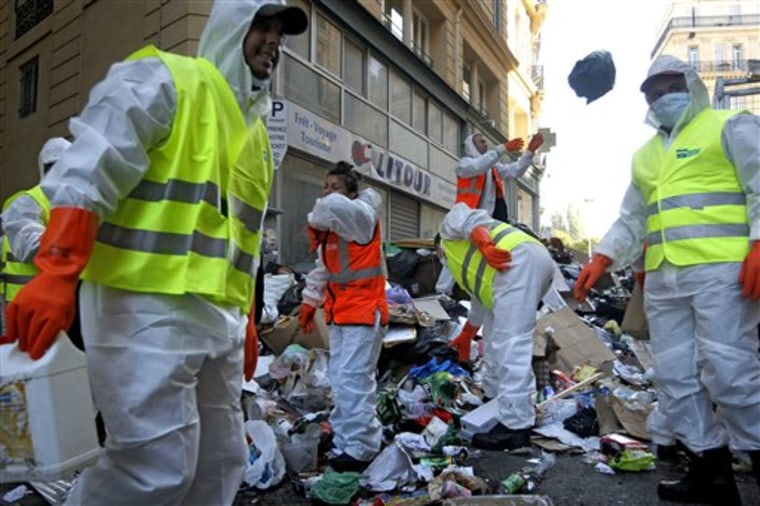"Garbage collectors began tackling Marseille's reeking mounds of trash on Tuesday. Some 9,000 tons of garbage have piled up in the streets in the past two weeks. The FO union voted Monday evening to end the protest out of concerns over ""hygiene and safety."" City authorities said it would take four to five days before France's second-largest city starts looking, and smelling, like itself."