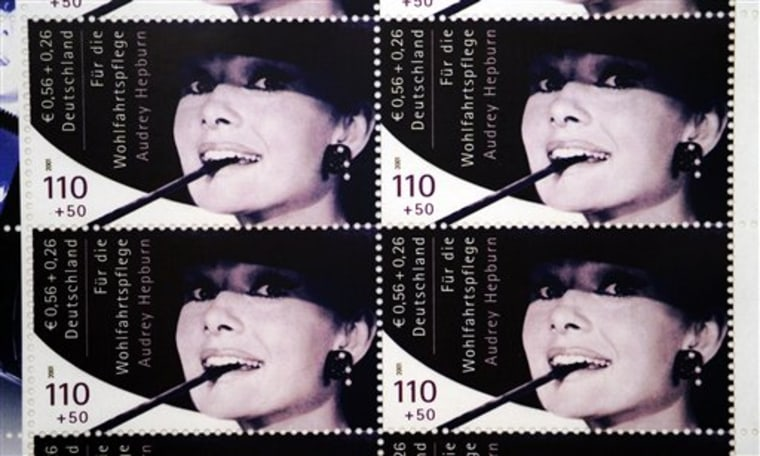 A repro of a set of Audrey Hepburn stamps that fetched more than $600,000 Saturday at an auction in Berlin.