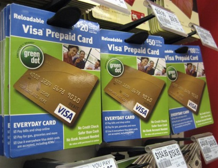 Visa prepaid cards are shown at a Duane Reade drug store in New York. A federal study last year found that about one in four U.S. households skirts banks and relies on services such as check-cashing and payday loans.