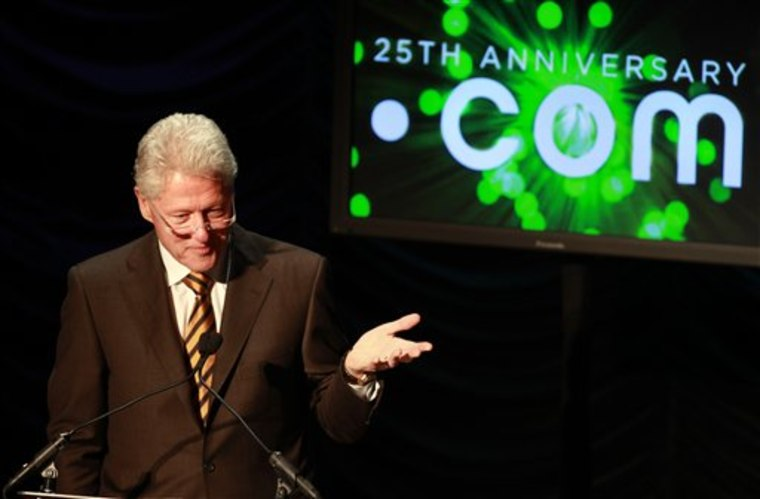 "In this March 16, 2010 photo, former President Bill Clinton gives the keynote address at the ""25 Years of Dot Com Policy Impact Forum"" in Washington. Internet minders voted Monday, June 20, 2011 to allow virtually unlimited new domain names based on themes as varied as company brands, entertainment and political causes, in the system's biggest shake-up since it started 26 years ago."