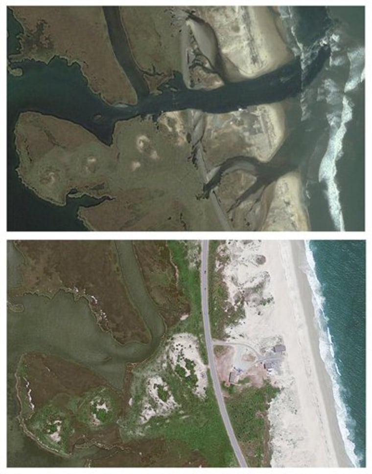 This file combination of two satellite images provided by GeoEye shows, above, an area of Hatteras Island, N.C., after Hurricane Irene washed out Highway 12 and, below, the same area of Hatteras Island taken on June 12, 2011, before the island was cut off from the mainland.