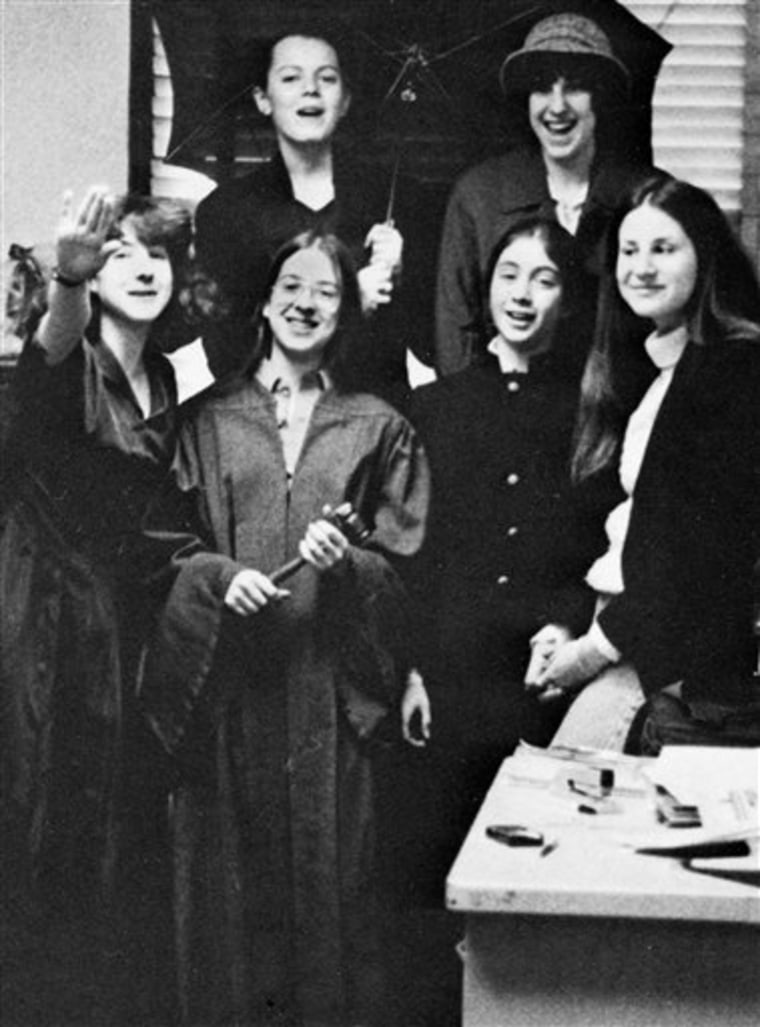 Elena Kagan, second from left in the front row, poses with members of the student government in Hunter College High's 1977 yearbook. Kagan, wearing a robe and holding a gavel, was the student council president.