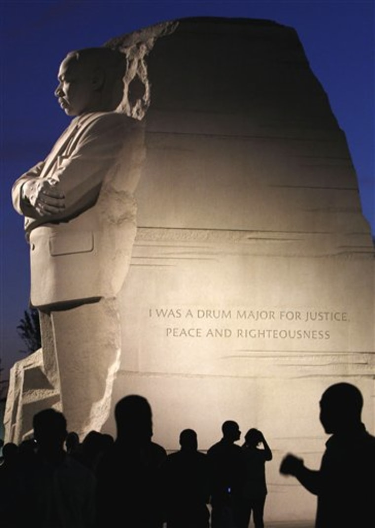 An inscription is seen Aug. 22 on the Martin Luther King, Jr. Memorial in Washington. Poet and author Maya Angelou is taking issue with a paraphrased quotation from Martin Luther King Jr. inscribed in his new memorial in Washington, saying the shortened version makes the civil rights is taken out of context.