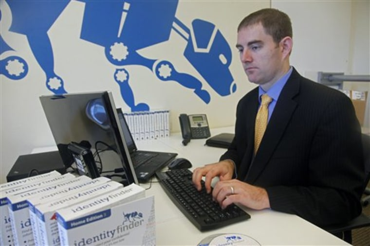 Aaron Titus, chief privacy officer and vice president of business development at Identity Finder, an Internet company that develops software to find and protect sensitive data, works at his office in New York, in this June 30 photo.