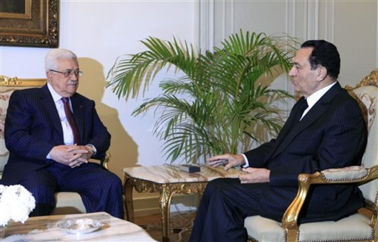 Egyptian President Hosni Mubarak, right, meets with Palestinian authority President Mahmoud Abbas at the Presidential palace in Cairo, Egypt,  on Thursday. Talks come within the framework of efforts aimed at reviving the Middle East peace process.