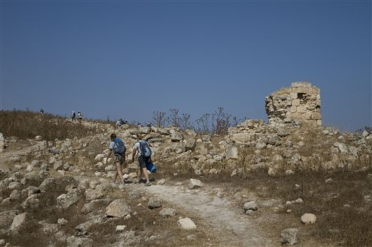 Volunteers and archeologists walk up a hill at an excavation site in Tel el-Safi, southern Israel, in this photo taken Wednesday, July 6, 2011.