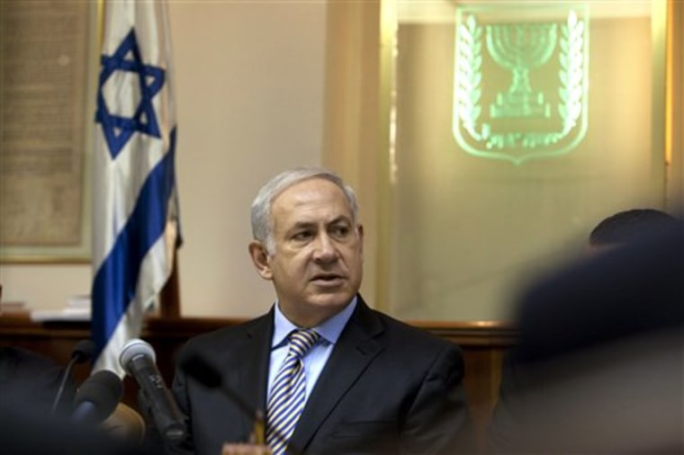 Israeli Prime Minister Benjamin Netanyahu chairs the weekly cabinet meeting in Jerusalem on Sunday.