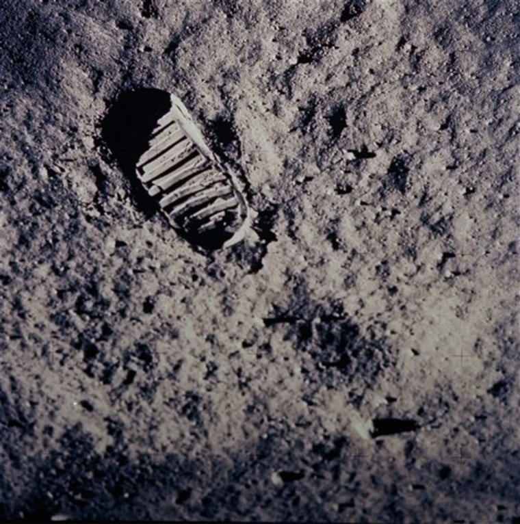 In this photo from July 20, 1969, a footprint left by one of the astronauts of the Apollo 11 mission shows in the soft, powder surface of the moon.