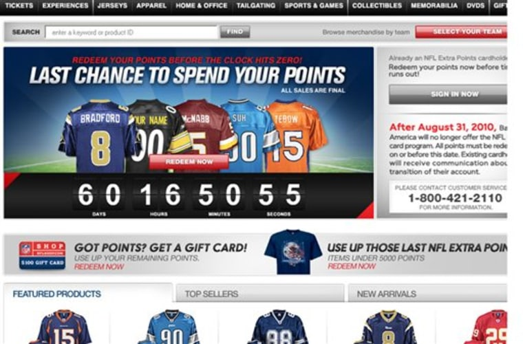 This screen grab from www.nflextrapoints.com shows an advertisement reminding people to use their extra points on NFL branded credit cards.