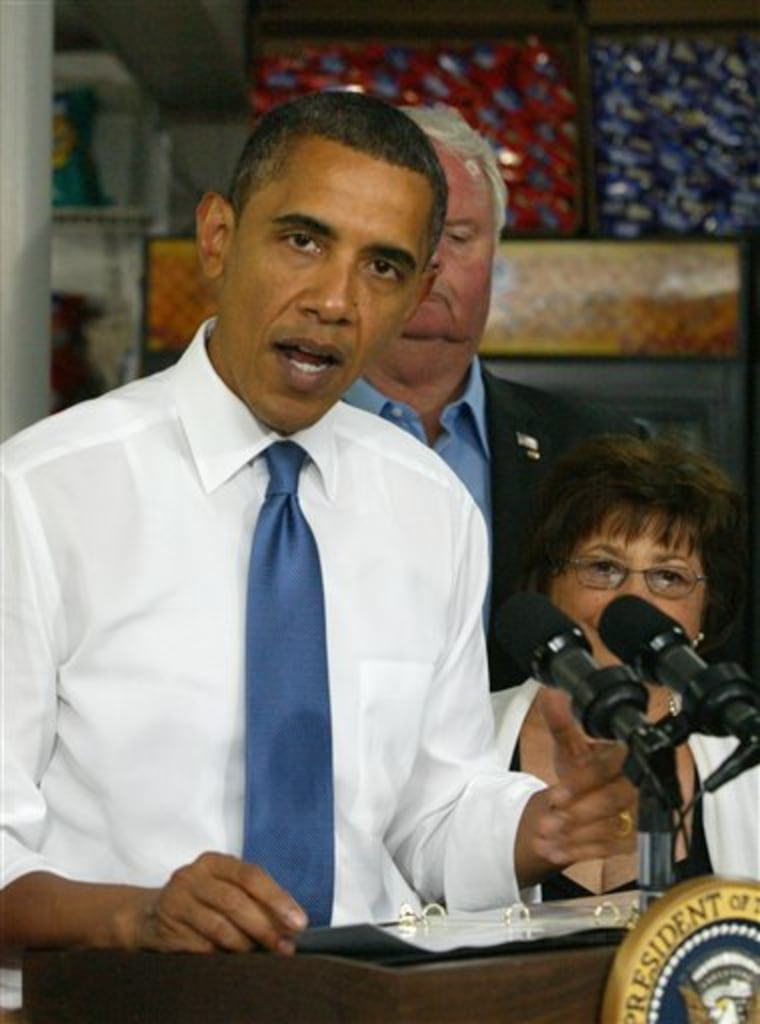 President Barack Obama delivers a brief speech after sitting with small business owners at the Tastee Sub Shop in Edison, N.J. on Wednesday, July 28, 2010.   Behind him are Tom and Catherine Horsburgh of Wayne, N.J. (AP Photo/Augusto F. Menezes, Pool)