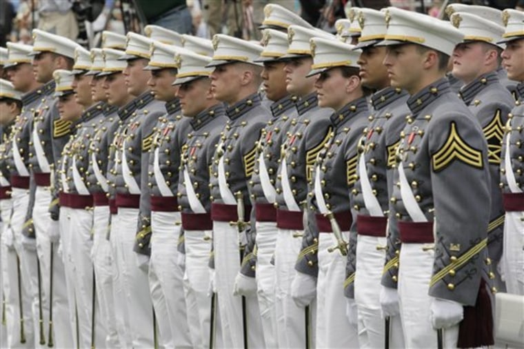 Cadets stand as President Barack Obama congratulates graduates of the U.S. Military Academy in West Point, N.Y., on Saturday.