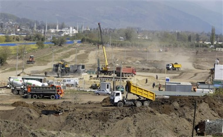 Early construction work at the Olympic facilities in Sochi, Russia, is seen last April 25.