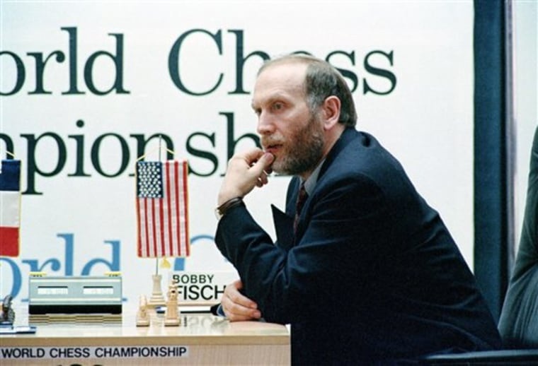 Chess master Bobby Fischer pauses before the start of the fifth game in Sveti Stefan, Yugoslavia, during the 1992 match that made him a wanted man. His trip to play there violated U.N. sanctions.