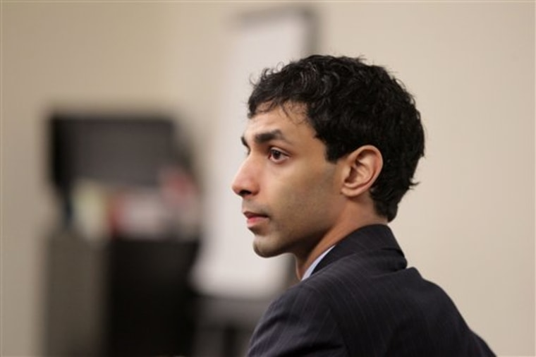 Dharun Ravi sits in the courtroom during his trial at the Middlesex County Courthouse in New Brunswick, N.J., Monday, March 5, 2012. Ravi is accused of using a webcam to spy on his roommate, Tyler Clementi, having an intimate encounter with another man.  Clementi later committed suicide. Ravi, 19, faces 15 criminal charges, including invasion of privacy and bias intimidation, a hate crime punishable by up to 10 years in state prison.