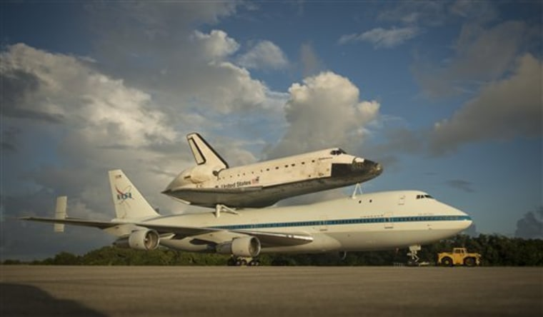 This photo provided by NASA shows space shuttle Endeavour atop NASA's Shuttle Carrier Aircraft at the Shuttle Landing Facility at NASA's Kennedy Space Center on Monday in Cape Canaveral, Fla.