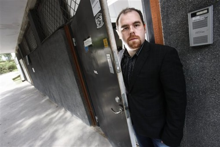 Mikael Viborg, the owner of the Web hosting company PRQ, stands outside the entrance to the basement where servers hosting the Wikileak site are kept in Stockholm, Sweden