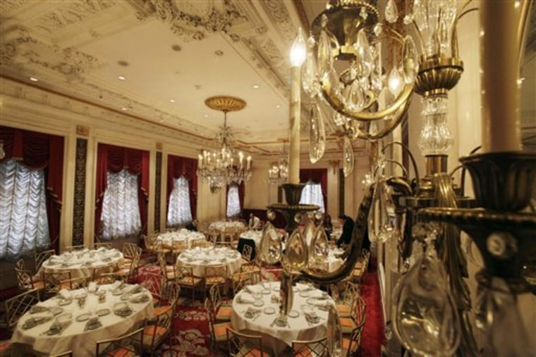 The Versailles Room of New York's St. Regis Hotel is prepared for a function last month. A century after the Titanic sank, the legacy of the ship's wealthiest and most famous passenger, John Jacob Astor, quietly lives on at the luxury hotel he built in New York City.