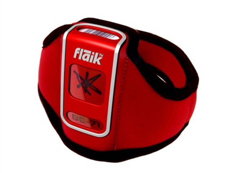 This product image courtesy of flaik shows the flaik Tag device. Nearly a dozen ski resorts worldwide are starting to use a GPS tracking system for students and instructors called flaik (pronounced like snowflake). A flaik is a small beacon the size of a deck of cards that is strapped to the leg. If a student moves beyond a certain distance from her instructor, it sends out an automatic alert. The distance is set by the ski resort based on the level of the class. (AP Photo/flaik) NO SALES