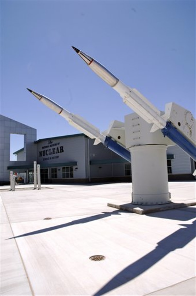 A Terrier missile launcher is pictured in front of the National Museum of Nuclear Science & History in Albuquerque, N.M., last week.  The crisis in Japan has boosted interest in nuclear-related museums and plants around the U.S.