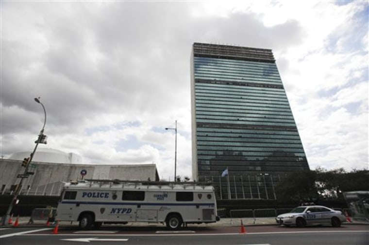 A New York City police department command post bus sits parked in front of the United Nations building in preparation for the General Assembly on Saturday.