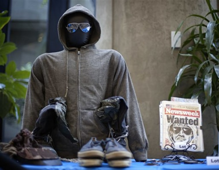 The hoodie and sunglasses used by Ted Kaczynski, also known as the Unabomber, are displayed as Kaczynski's personal items are auctioned off online with proceeds to benefit the victims' families in Atlanta. The online auction of Unabomber memorabilia ends today with bidders vying for the most popular items: hoodie, sunglasses and hand-written manifesto.