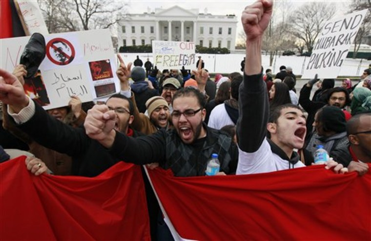 A crowd chants in front of the White House in Washington on Saturday demanding that Egyptian President Hosni Mubarak step down.