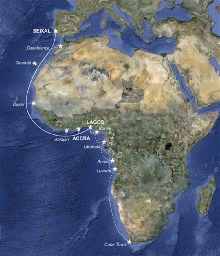 This map provided by Main One Cable Co., shows the Main One undersea fiber-optic cable, which extended to Lagos, Nigeria this summer, bringing vastly greater communications capacity to West Africa.