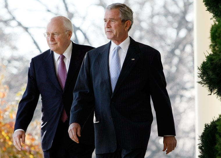 Bush And His Cabinet Make Statement In Rose Garden