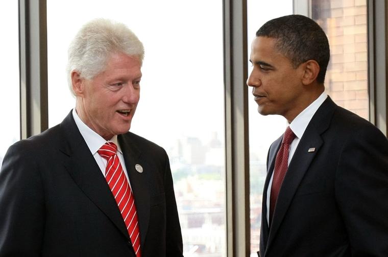 Bill Clinton Hosts Barack Obama In His Harlem Office