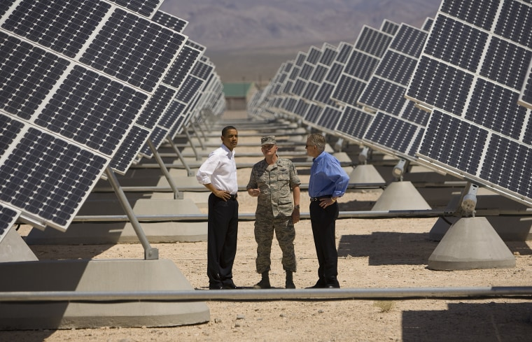 President Barack Obama Holds Recovery Act Event In Nellis AFB