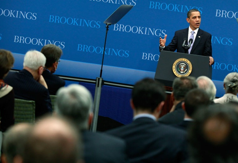 President Obama Delivers Speech On Economy At Brookings Institution